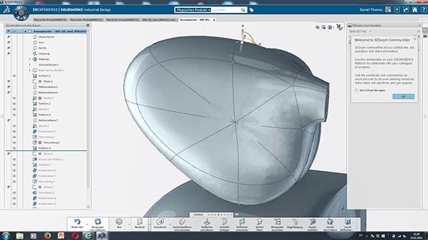Solidworks Industrial Designer Canto:  Modifikation der Brille: Durch etwas Ziehen und Zupfen an den Flächen wurde die Form der Brille innerhalb von Sekunden oval. In SOLIDWORKS hätte allein dieser Vorgang fast eine halbe Stunde in Anspruch genommen