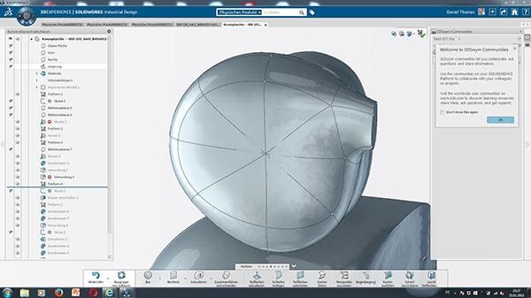 Solidworks Industrial Designer Canto: Runde Brille für die Nerd-Version des Maskottchens