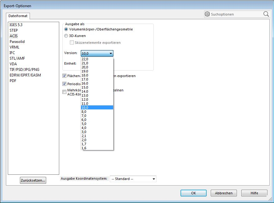 COFFEE_SOLIDWORKS_Optionen