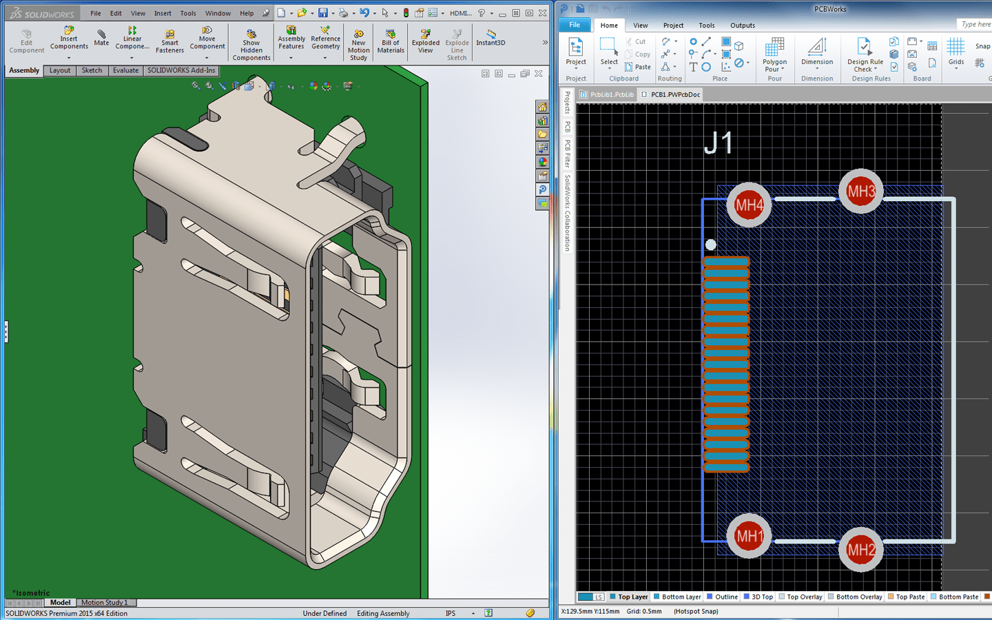 SOLIDWORKS PCB Platinen differential pair