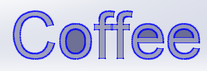 COFFEE Schriftzug in SOLIDWORKS bestehend aus Bögen und Linien