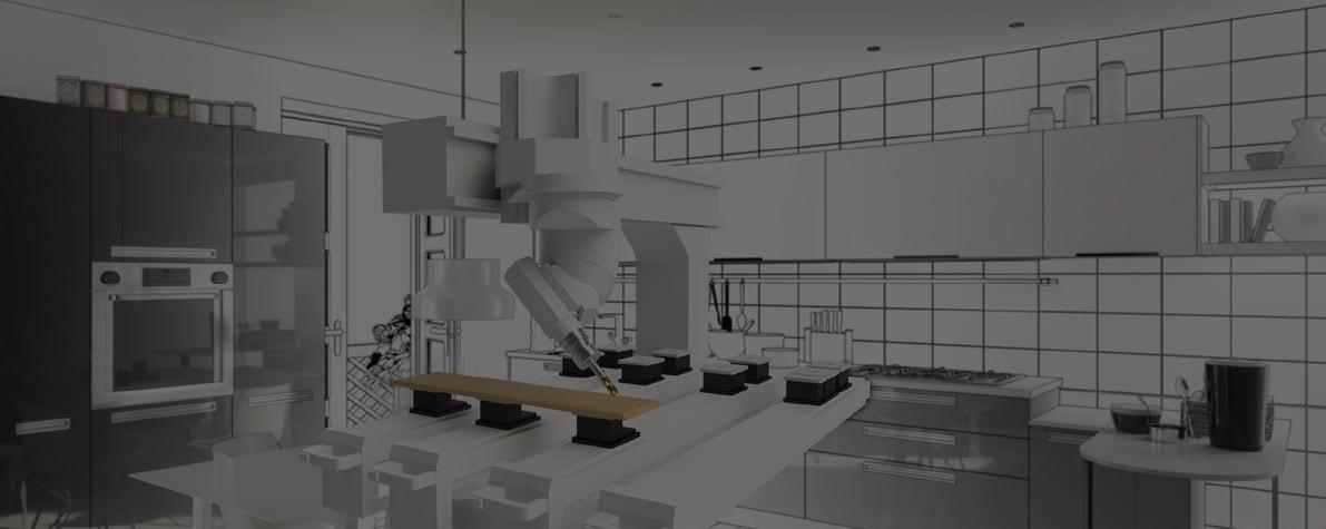Küche mit Holzverarbeitungsmaschine SWOOD im Zentrum