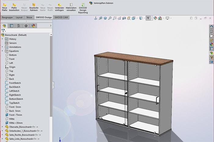 3D-Darstellung eines Regals in SWOOD CAM