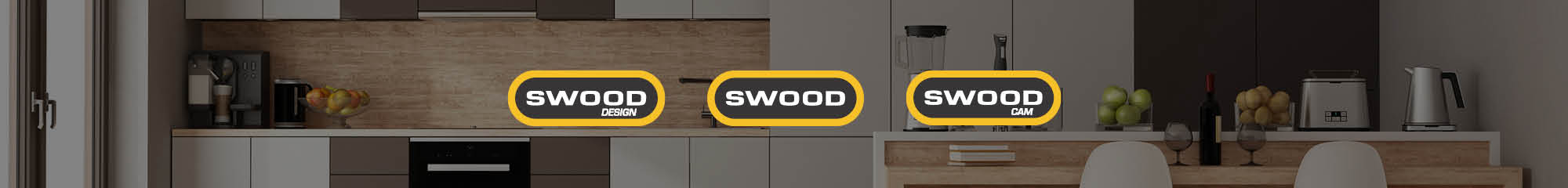 Küche mit SWOOD Logos im Vordergrund