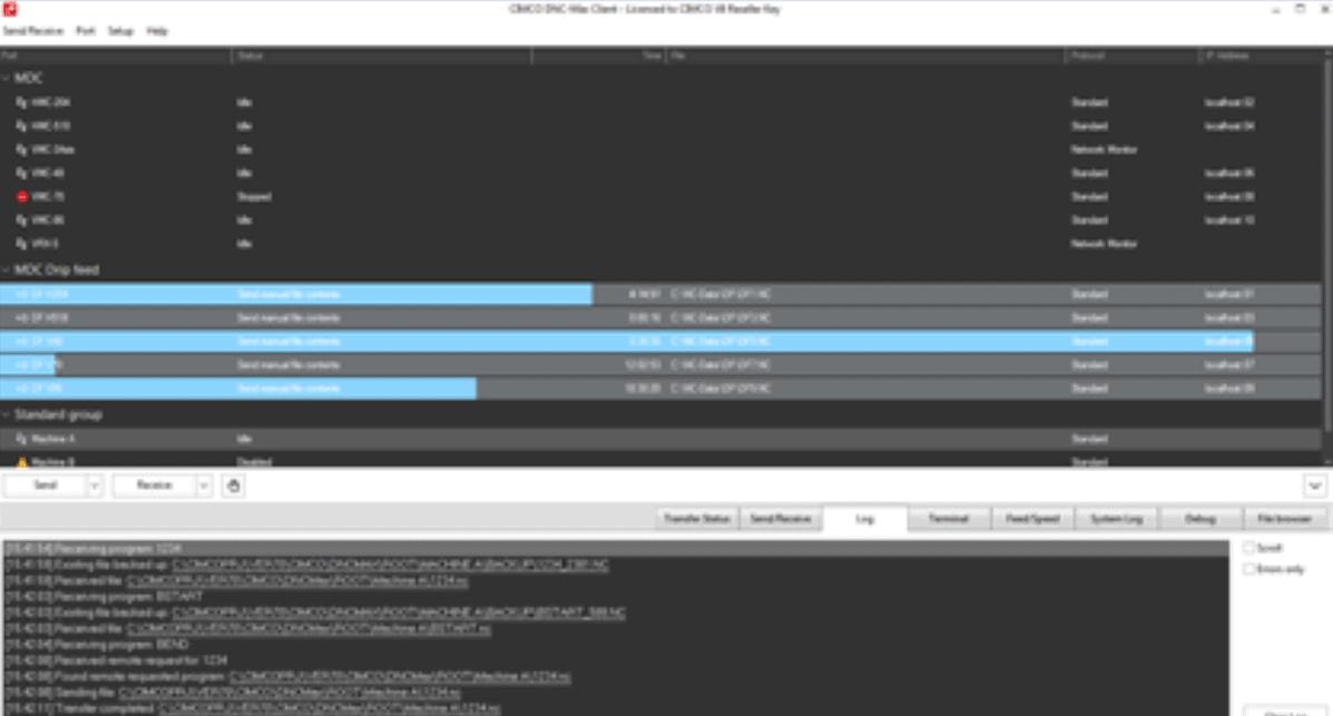 Benutzeroberfläche der Software CIMCO DNC Max
