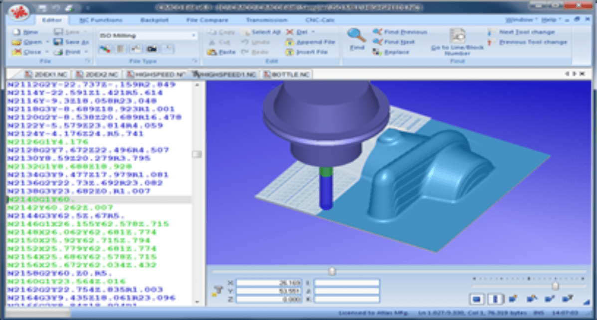 Benutzeroberfläche der Software CIMCO Edit