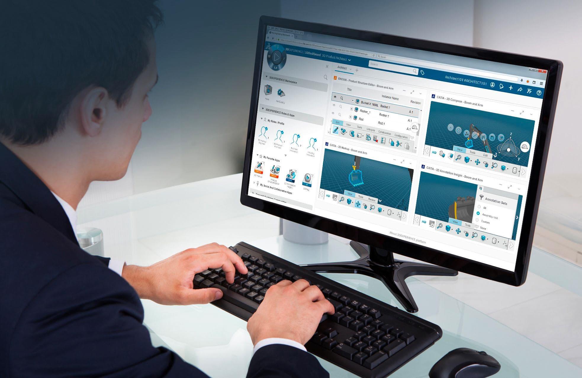 Mann vor Bilschirm mit 3D Experience PLattform