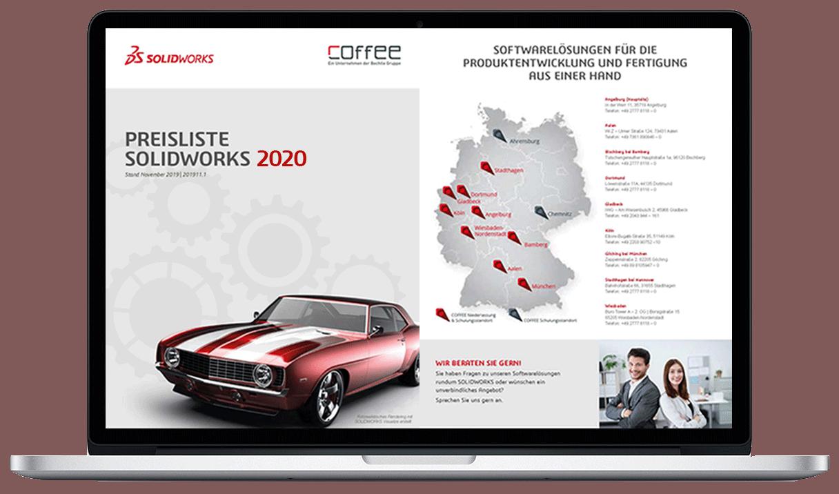Laptop Bildschirm mit SOLIDWORKS Preisliste