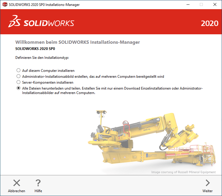SOLIDWORKS Installationsmanager Installationstyp