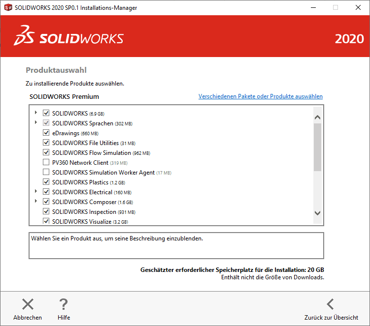 SOLIDWORKS Installations-Manager Produktauswahl