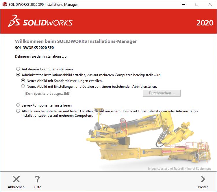 SOLIDWORKS Installationsmanager Installationstyp definieren
