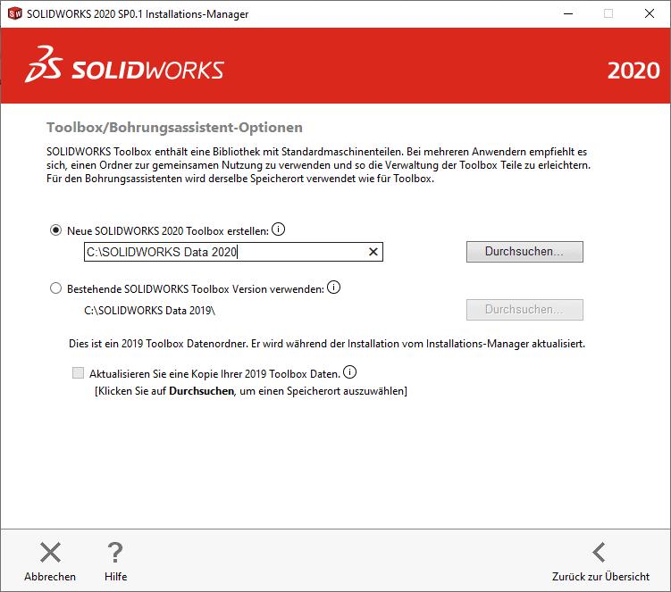 Neue SOLIDWORKS Toolbox erstellen