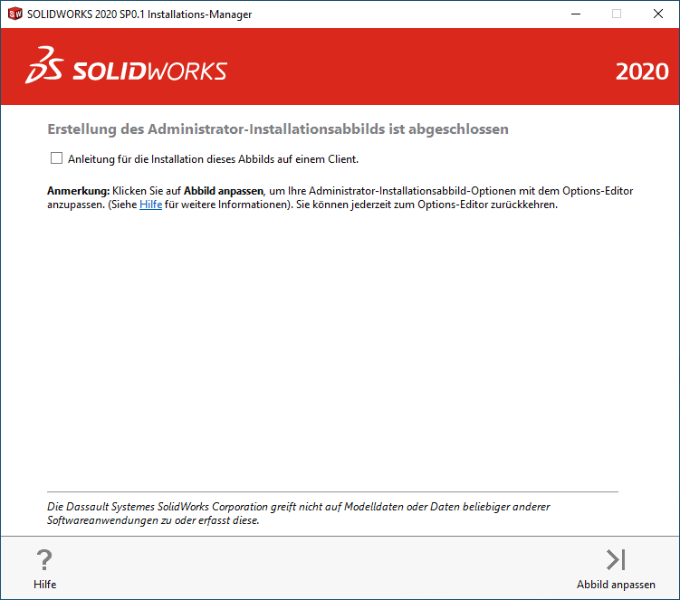 SOLIDWORKS Installations-Manager 2020 Fenster