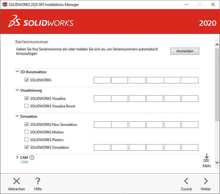 SOLIDWORKS Installations-Manager Seriennummer Eingabe