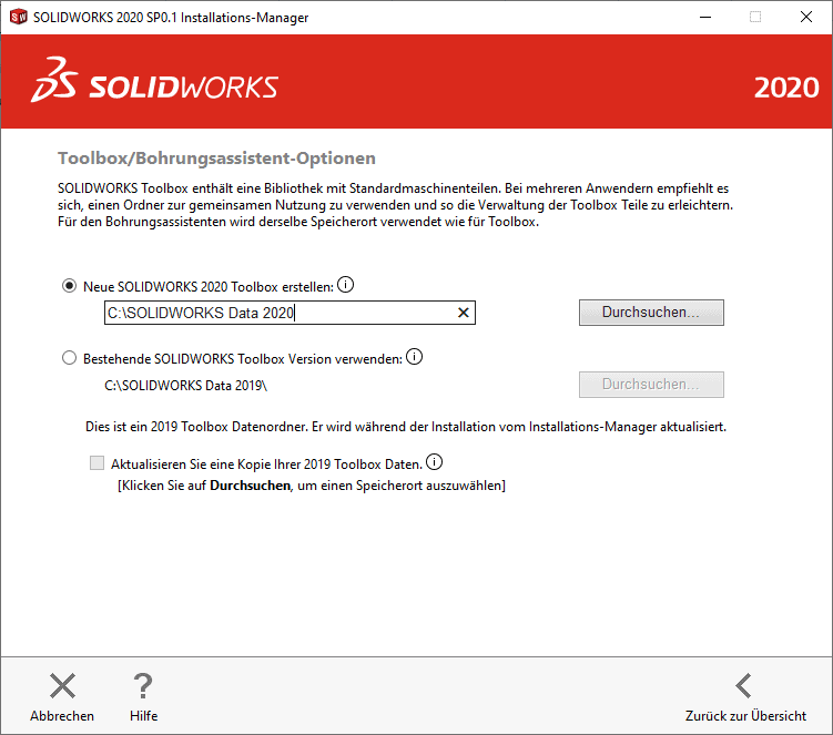 SOLIDWORKS Installationsmanager Toolbox Assistent Fenster
