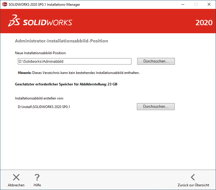 SOLIDWORKS 2020 Installations-Manager Fenster