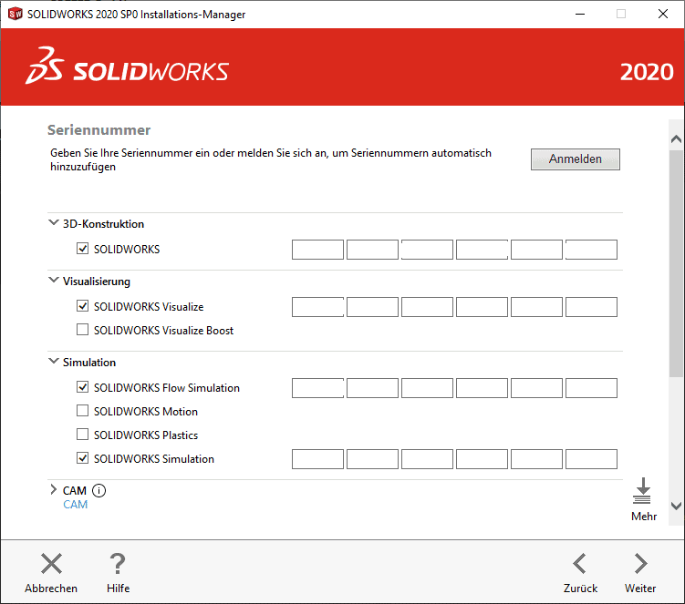 SOLIDWORKS Installationsmanager Seriennummer