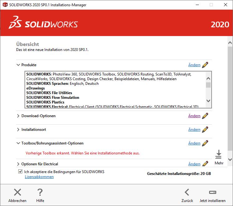 SOLIDWORKS Installations-Manager Übersicht