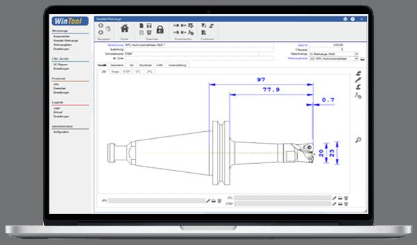 Werkzeugverwaltung mit WINTool am Laptop