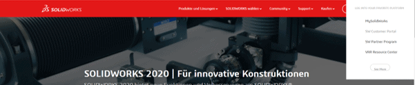 SOLIDWORKS Webseite Screenshot