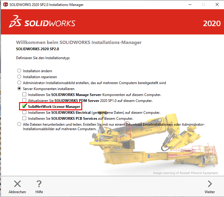 SOLIDWORKS Installationsmanager 2020 Fenster