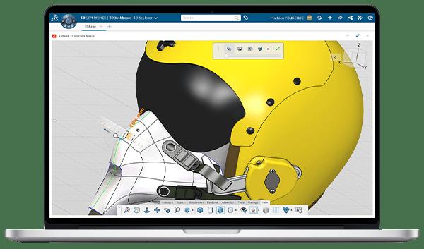3DEXPERIENCE Konstruktion in der Cloud auf Laptop